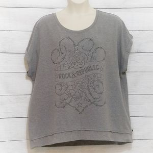 Rock & Republic | Gray Short Rolled-sleeve Top